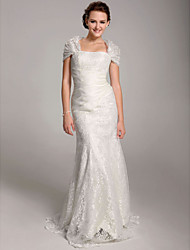 cheap -Mermaid / Trumpet Wedding Dresses Straps Floor Length Lace Short Sleeve See-Through with 2021