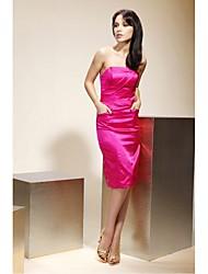 cheap -Sheath / Column Strapless Knee Length Stretch Satin Bridesmaid Dress with Pocket by LAN TING BRIDE®