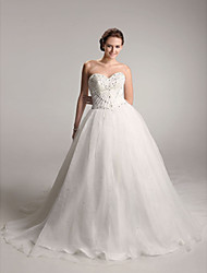 cheap -Ball Gown Wedding Dresses Sweetheart Neckline Strapless Chapel Train Organza Satin Sleeveless Sparkle & Shine with 2021