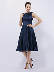 cheap -Ball Gown 1950s Celebrity Style All Celebrity Styles Cocktail Party Wedding Party Dress Bateau Neck Sleeveless Knee Length Stretch Satin with Pleats 2020