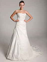 cheap -Princess A-Line Wedding Dresses Sweetheart Neckline Strapless Court Train Satin Sleeveless with 2021