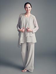 cheap -Sheath / Column Wedding Party Dress Scoop Neck Long Sleeve Floor Length Chiffon with Beading 2021