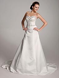 cheap -Princess A-Line Wedding Dresses Sweetheart Neckline Strapless Court Train Satin Sleeveless with 2021