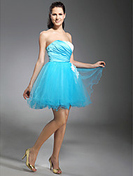 cheap -Ball Gown Strapless Short / Mini Tulle Cocktail Party Homecoming Prom Holiday Sweet 16 Dress with Beading Appliques Side Draping by TS