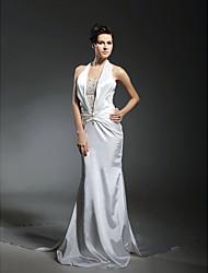 cheap -Mermaid / Trumpet Wedding Dresses Halter Neck Chapel Train Stretch Satin Sleeveless with 2021 / Removable train