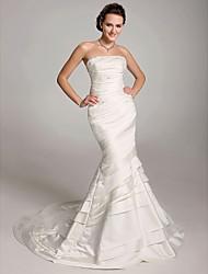 cheap -Mermaid / Trumpet Wedding Dresses Strapless Court Train Satin Taffeta Sleeveless with 2021