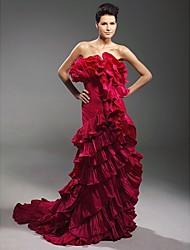 cheap -Sheath / Column All Celebrity Styles Inspired by Oscar Formal Evening Dress Strapless Sleeveless Court Train Satin Taffeta with Ruffles Cascading Ruffles 2021