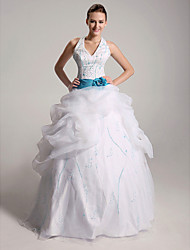 cheap -Ball Gown Halter Floor-length Satin Organza Wedding Dress