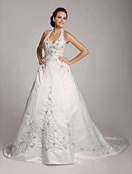 cheap -Princess A-Line Wedding Dresses Halter Neck V Neck Court Train Satin Sleeveless with 2021