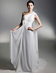 cheap -Sheath / Column Wedding Dresses One Shoulder Watteau Train Chiffon Sleeveless with 2020
