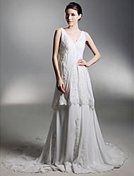 cheap -Princess A-Line Wedding Dresses V Neck Chapel Train Chiffon Sleeveless with 2020