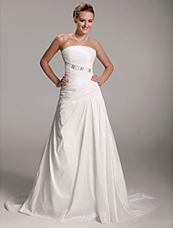 cheap -Princess A-Line Wedding Dresses Strapless Court Train Taffeta Sleeveless with 2020