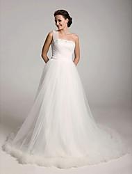 Недорогие -Принцесса С пышной юбкой А-силуэт Свадебные платья На одно плечо Со шлейфом средней длины Сатин Тюль Без рукавов с 2020
