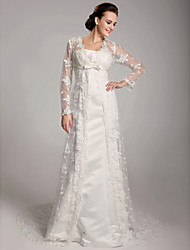 cheap -Sheath / Column Wedding Dresses Square Neck Sweep / Brush Train Lace Satin Long Sleeve with Bowknot Lace Sash / Ribbon 2020 / Illusion Sleeve