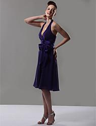 cheap -A-Line Halter Neck / V Neck Knee Length Chiffon Bridesmaid Dress with Sash / Ribbon / Bow(s)