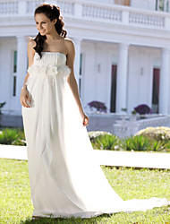 cheap -Sheath / Column Wedding Dresses Strapless Court Train Chiffon Sleeveless with 2021