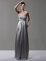 cheap -Sheath / Column Strapless Floor Length Charmeuse Bridesmaid Dress with Draping