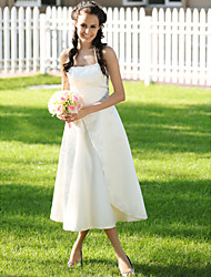 cheap -Princess A-Line Wedding Dresses Halter Neck Spaghetti Strap Tea Length Satin Sleeveless with 2020