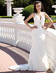 cheap -Mermaid / Trumpet Wedding Dresses V Neck Spaghetti Strap Court Train Chiffon Satin Sleeveless with 2021