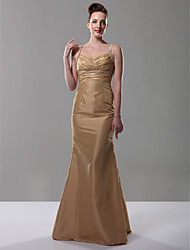 cheap -A-Line Formal Evening Dress Straps V Neck Sleeveless Floor Length Taffeta with Criss Cross Ruched Beading 2021