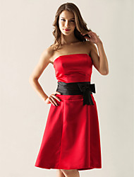 cheap -Ball Gown Wedding Party Dress Strapless Sleeveless Knee Length Satin with Sash / Ribbon Bow(s) 2021