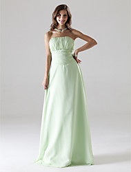 cheap -Ball Gown Strapless Floor Length Chiffon Elegant Prom / Wedding Party Dress 2020 with Draping / Ruched