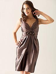 cheap -Sheath / Column V Neck Knee Length Taffeta Bridesmaid Dress with Criss Cross / Beading