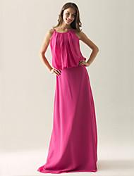 cheap -Sheath / Column Spaghetti Strap Floor Length Chiffon Bridesmaid Dress with Draping