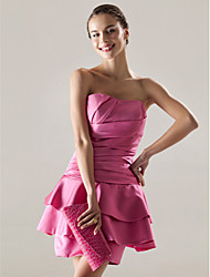 cheap -A-Line Homecoming Cocktail Party Sweet 16 Dress Strapless Sweetheart Neckline Sleeveless Short / Mini Satin with Side Draping 2020