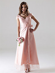 cheap -A-Line V Neck Ankle Length Organza Bridesmaid Dress with Sash / Ribbon / Bow(s)