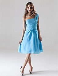 cheap -A-Line One Shoulder Knee Length Chiffon Bridesmaid Dress with Ruched