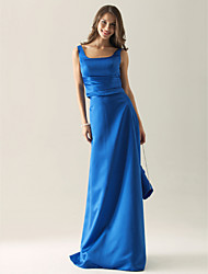 cheap -Sheath / Column Straps Floor Length Satin Bridesmaid Dress with Side Draping