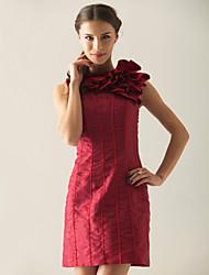 cheap -Sheath / Column Homecoming Cocktail Party Dress Jewel Neck Sleeveless Short / Mini Organza Taffeta with Ruffles 2021
