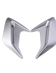 cheap -2pc Universal Car Exhaust Port Side Door Wing Fender 3D Shark Gill Simulation Air Flow Intake Vent Hood Decoration Cover Sticker-Silver