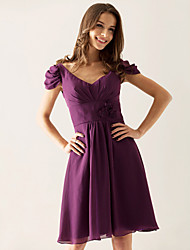 cheap -Princess / A-Line V Neck Knee Length Chiffon Bridesmaid Dress with Draping / Flower
