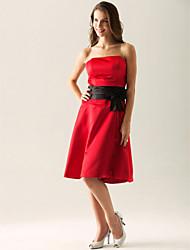cheap -Princess / A-Line Strapless Knee Length Satin Bridesmaid Dress with Sash / Ribbon / Bow(s)