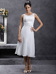 cheap -Sheath / Column Wedding Dresses Scoop Neck Tea Length Chiffon Regular Straps Little White Dress with Sash / Ribbon Ruched Appliques 2020
