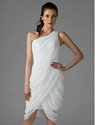 cheap -Sheath / Column One Shoulder Knee Length Chiffon Bridesmaid Dress with Side Draping