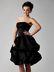 cheap -Ball Gown Homecoming Cocktail Party Wedding Party Dress Strapless Sleeveless Knee Length Satin with Pick Up Skirt Sash / Ribbon Bow(s) 2021