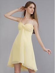 cheap -A-Line Wedding Party Dress Spaghetti Strap Sleeveless Short / Mini Chiffon with Criss Cross 2020