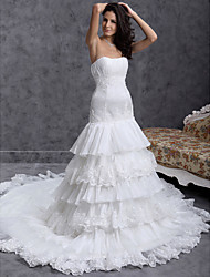 cheap -A-line Sweetheart Chapel Train Organza Tiered Wedding Dress