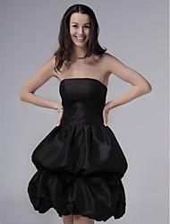 cheap -Ball Gown Wedding Party Dress Strapless Sleeveless Knee Length Taffeta with Pick Up Skirt 2021