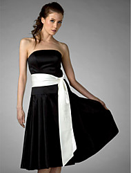 cheap -A-Line / Ball Gown Strapless Knee Length Satin Bridesmaid Dress with Sash / Ribbon