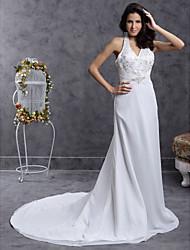 cheap -Sheath / Column Wedding Dresses Halter Neck V Neck Court Train Chiffon Sleeveless with 2021