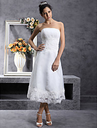 cheap -A-Line Wedding Dresses Strapless Tea Length Organza Strapless Little White Dress with Lace 2020