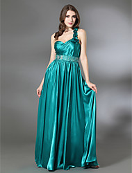 cheap -Sheath / Column Prom Formal Evening Military Ball Dress One Shoulder Sweetheart Neckline Sleeveless Floor Length Charmeuse with Pleats Beading Ruffles 2021