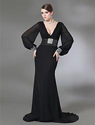 cheap -Clearance!Trumpet/Mermaid V-neck Sweep Train Chiffon And Stretch Satin Evening Dress