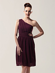cheap -Sheath / Column One Shoulder Knee Length Chiffon Bridesmaid Dress with Pleats / Side Draping