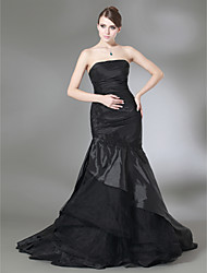 cheap -Mermaid / Trumpet Open Back Prom Formal Evening Dress Strapless Sleeveless Sweep / Brush Train Taffeta Tulle with Ruched Appliques 2020
