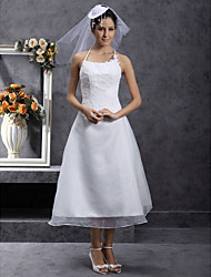 cheap -A-Line Wedding Dresses Spaghetti Strap Tea Length Organza Sleeveless Little White Dress with Lace Ruched Beading 2020